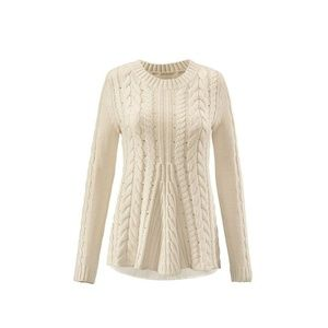 CABI #3157 Cream Lace-Up Cable Knit Sweater sz S